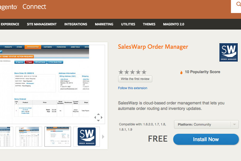 SalesWarp Order Manager Extension on Magento Connect